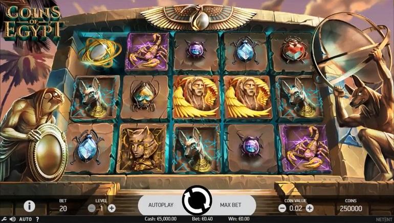 NetEnti Coins of Egypt mänguautomaat nüüd saadaval